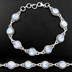 20.66cts natural rainbow moonstone 925 sterling silver tennis bracelet r40426