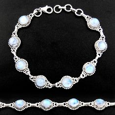 20.32cts natural rainbow moonstone 925 sterling silver tennis bracelet r40427