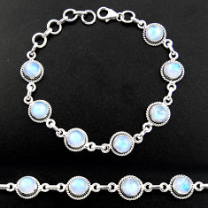 16.21cts natural rainbow moonstone 925 sterling silver tennis bracelet r40429