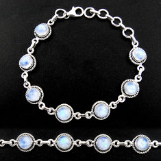 15.46cts natural rainbow moonstone 925 sterling silver tennis bracelet r40430