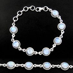 15.91cts natural rainbow moonstone 925 sterling silver tennis bracelet r40431