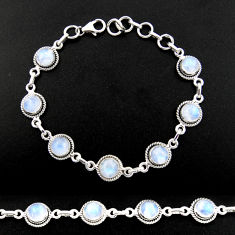15.67cts natural rainbow moonstone 925 sterling silver tennis bracelet r40433