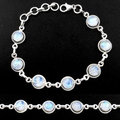15.65cts natural rainbow moonstone 925 sterling silver tennis bracelet r40434