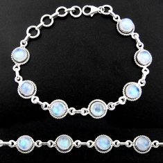 16.68cts natural rainbow moonstone 925 sterling silver tennis bracelet r40435