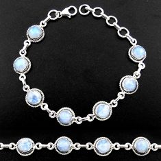 15.96cts natural rainbow moonstone 925 sterling silver tennis bracelet r40437