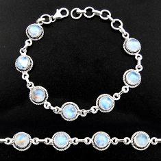16.22cts natural rainbow moonstone 925 sterling silver tennis bracelet r40438