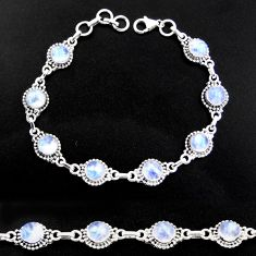 20.32cts natural rainbow moonstone 925 sterling silver tennis bracelet r40443