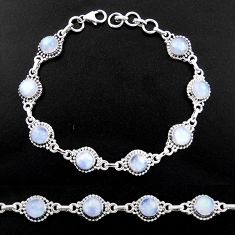 20.84cts natural rainbow moonstone 925 sterling silver tennis bracelet r40447