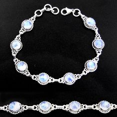 20.66cts natural rainbow moonstone 925 sterling silver tennis bracelet r40449