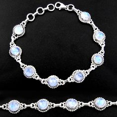 20.37cts natural rainbow moonstone 925 sterling silver tennis bracelet r40450