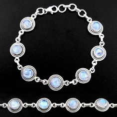 17.24cts natural rainbow moonstone 925 sterling silver tennis bracelet r40452
