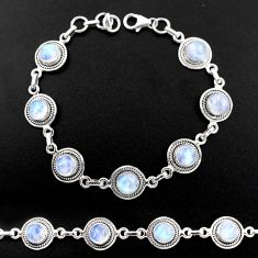 17.25cts natural rainbow moonstone 925 sterling silver tennis bracelet r40455