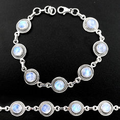 16.69cts natural rainbow moonstone 925 sterling silver tennis bracelet r40456