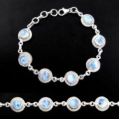 16.45cts natural rainbow moonstone 925 sterling silver tennis bracelet r40457