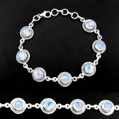16.68cts natural rainbow moonstone 925 sterling silver tennis bracelet r40459