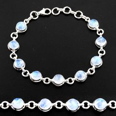 23.49cts natural rainbow moonstone 925 sterling silver tennis bracelet r41208
