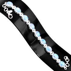 36.61cts natural rainbow moonstone 925 sterling silver tennis bracelet r76629