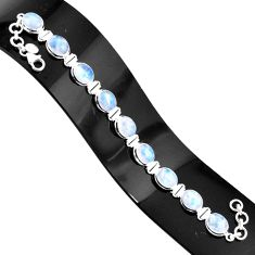 37.43cts natural rainbow moonstone 925 sterling silver tennis bracelet r76631