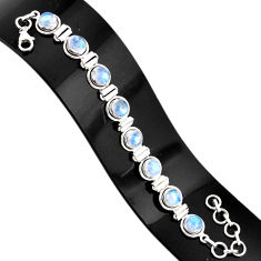 19.54cts natural rainbow moonstone 925 sterling silver tennis bracelet r76637