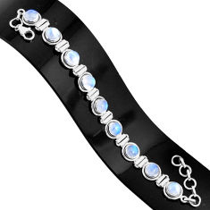 21.70cts natural rainbow moonstone 925 sterling silver tennis bracelet r76638
