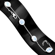 12.71cts natural rainbow moonstone 925 sterling silver tennis bracelet r80622
