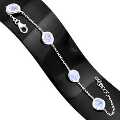 12.71cts natural rainbow moonstone 925 sterling silver tennis bracelet r80644