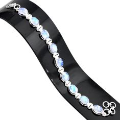 37.41cts natural rainbow moonstone 925 sterling silver tennis bracelet r84322
