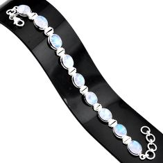 36.67cts natural rainbow moonstone 925 sterling silver tennis bracelet r84335