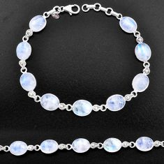 33.90cts natural rainbow moonstone 925 sterling silver tennis bracelet t14741