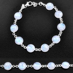 31.58cts natural rainbow moonstone 925 sterling silver tennis bracelet t14742