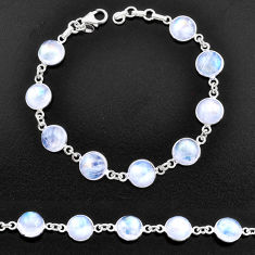 29.90cts natural rainbow moonstone 925 sterling silver tennis bracelet t14745