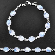 27.10cts natural rainbow moonstone 925 sterling silver tennis bracelet t14746