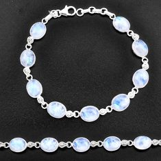 30.44cts natural rainbow moonstone 925 sterling silver tennis bracelet t14747