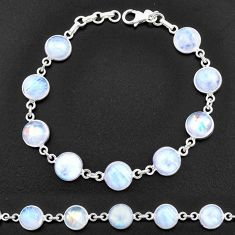 31.53cts natural rainbow moonstone 925 sterling silver tennis bracelet t14749