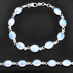 32.12cts natural rainbow moonstone 925 sterling silver tennis bracelet t14750
