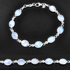 30.88cts natural rainbow moonstone 925 sterling silver tennis bracelet t14751