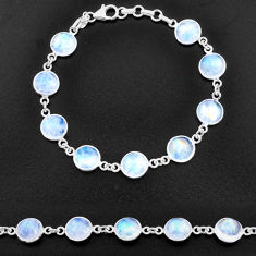 27.69cts natural rainbow moonstone 925 sterling silver tennis bracelet t14753
