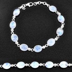 30.88cts natural rainbow moonstone 925 sterling silver tennis bracelet t14754