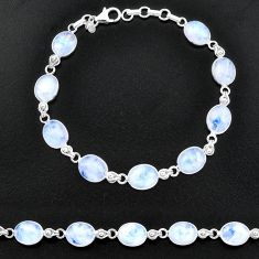 29.74cts natural rainbow moonstone 925 sterling silver tennis bracelet t14758
