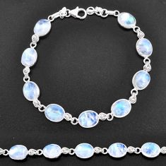 29.75cts natural rainbow moonstone 925 sterling silver tennis bracelet t14761
