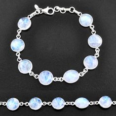 30.42cts natural rainbow moonstone 925 sterling silver tennis bracelet t14762