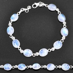 32.74cts natural rainbow moonstone 925 sterling silver tennis bracelet t14763