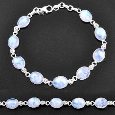34.39cts natural rainbow moonstone 925 sterling silver tennis bracelet t14765