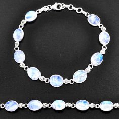 31.26cts natural rainbow moonstone 925 sterling silver tennis bracelet t14767
