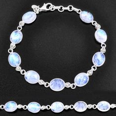 32.16cts natural rainbow moonstone 925 sterling silver tennis bracelet t14769