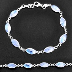 25.14cts natural rainbow moonstone 925 sterling silver tennis bracelet t14770
