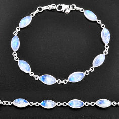 24.45cts natural rainbow moonstone 925 sterling silver tennis bracelet t14771