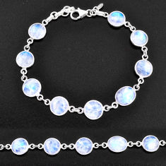 27.43cts natural rainbow moonstone 925 sterling silver tennis bracelet t14773