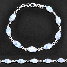 24.91cts natural rainbow moonstone 925 sterling silver tennis bracelet t14775