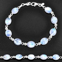 30.22cts natural rainbow moonstone 925 sterling silver tennis bracelet t14778